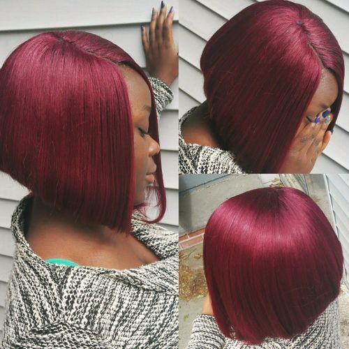 purple burgundy hair color on bob