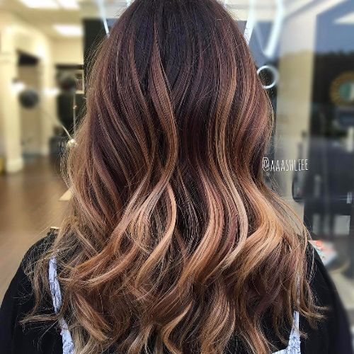 rose blonde highlights on brown hair