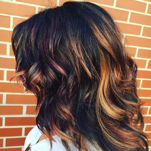 caramel and purple highlights