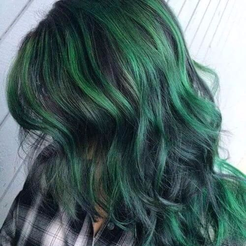 green balayage on dark hair