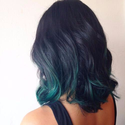 Green and purple ombre hair