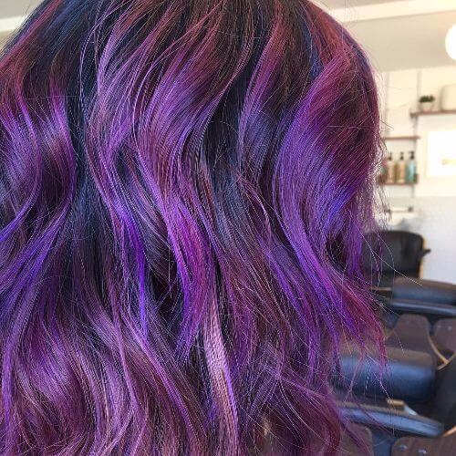balayage in lavender shades