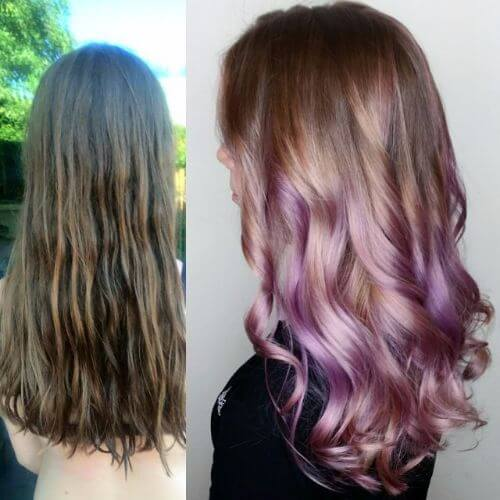 Balayage highlights in lavender hair color