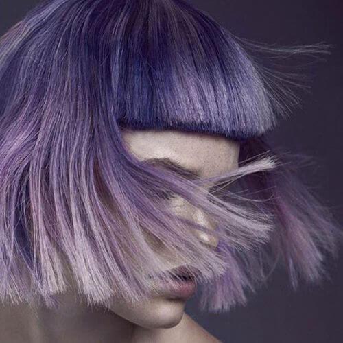 bob haircut on lavender hair