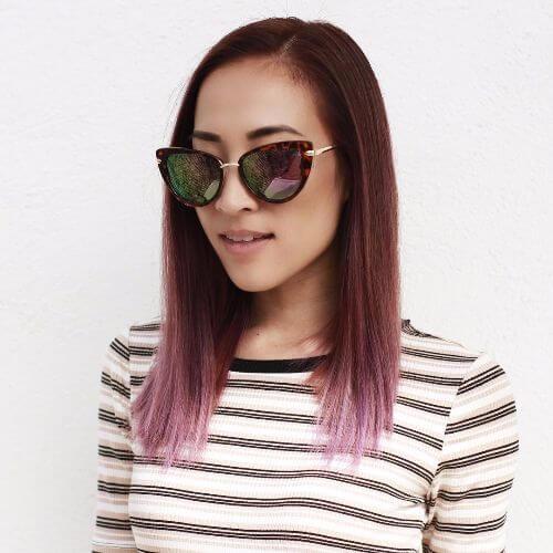 brown hair with lavender balayage