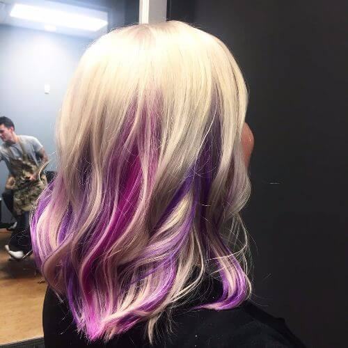 dark lavender highlights on blonde hair