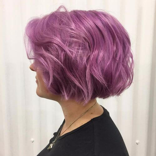 bob haircut on lavender hair