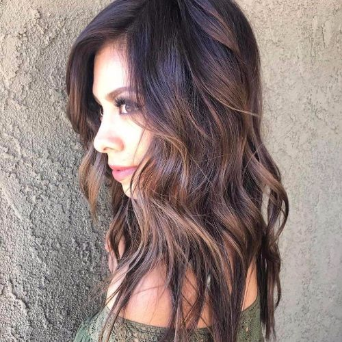 layered hair with brown balayage