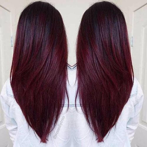 rich dark burgundy hair