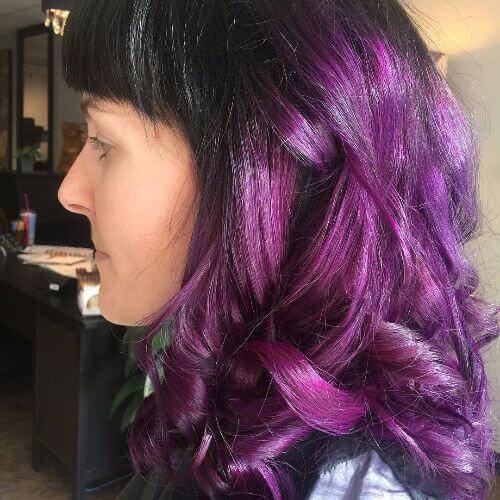 purple ombre on wavy short hair