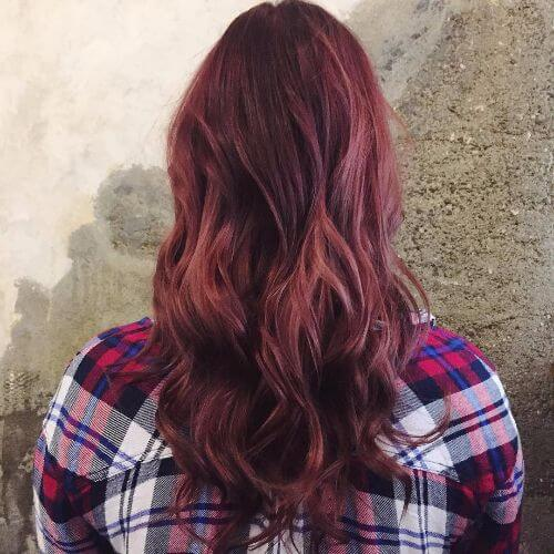burgundy balayage on long hair