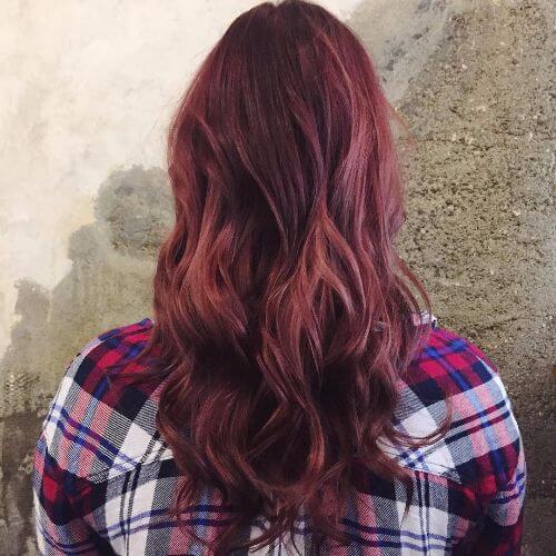 burgundy balayage on long hair
