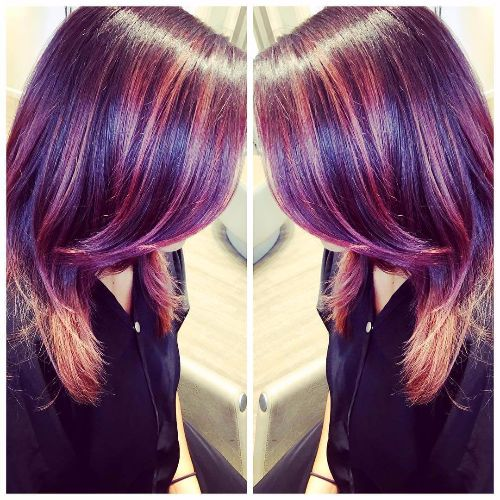 Natural red hair with blue highlights