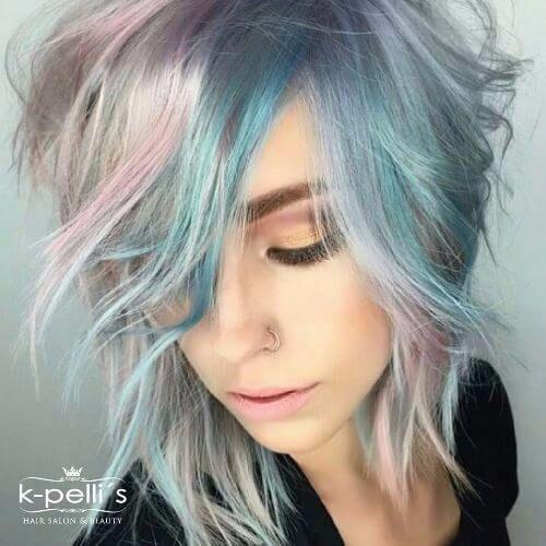 pastel balayage highlights on short hair