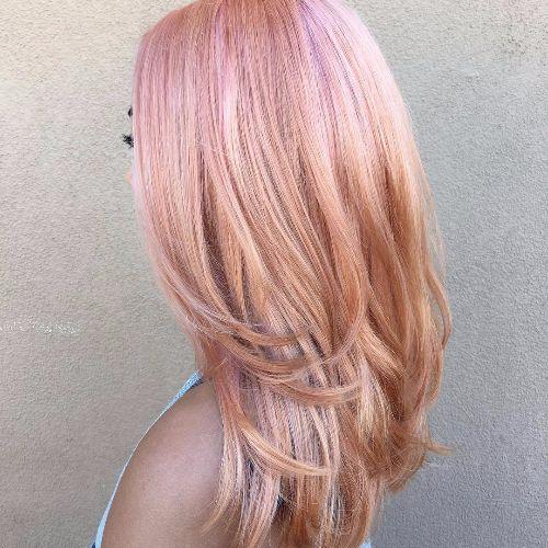 pink balayage on straight hair