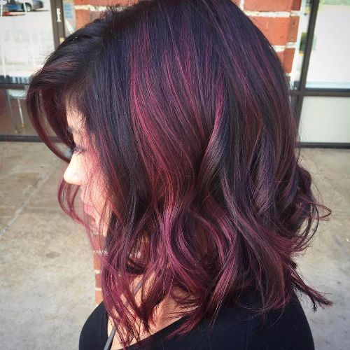 80 balayage highlights ideas for every hair color hair motive purple highlights on dark hair purple balayage for brunettes pmusecretfo Image collections
