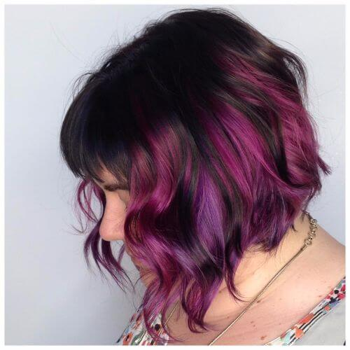 50 purple ombre hair ideas worth checking out hair motive hair purple highlights on wavy bob pmusecretfo Choice Image