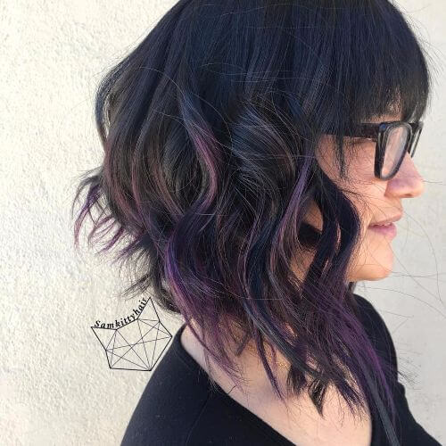 50 purple ombre hair ideas worth checking out hair motive hair angled bob haircut with purple highlights pmusecretfo Image collections