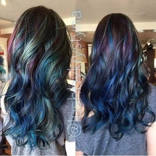 Blue and purple hair streaks