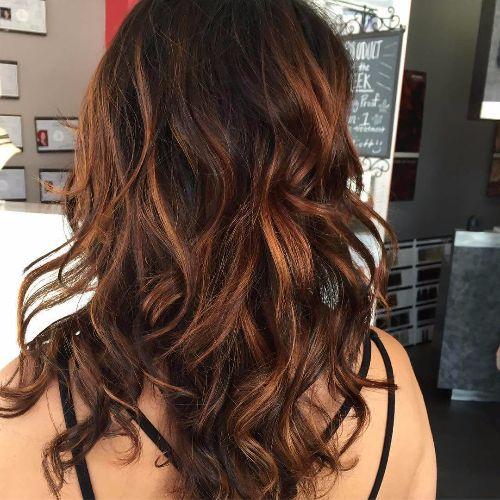 dark hair balayage highlights