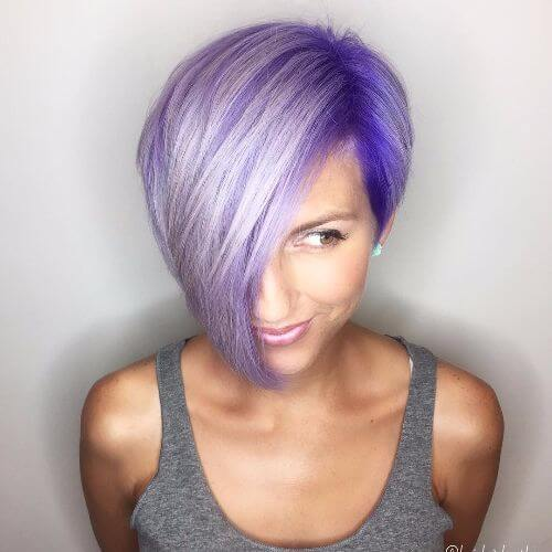 short bob haircut on lavender hair