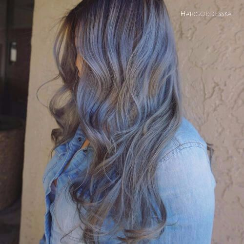 blue balayage highlights