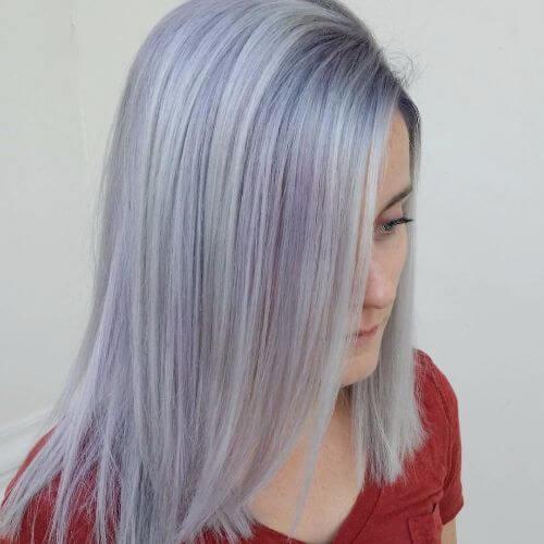 lavender balayage on silver hair