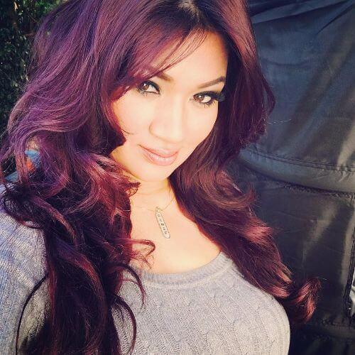 burgundy hair in waves