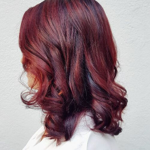 medium burgundy hair