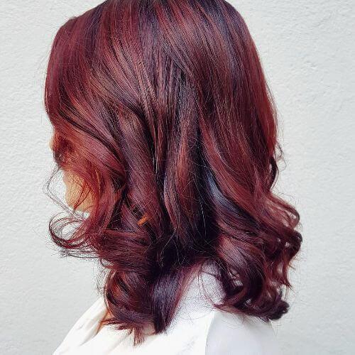 medium burgundy hair