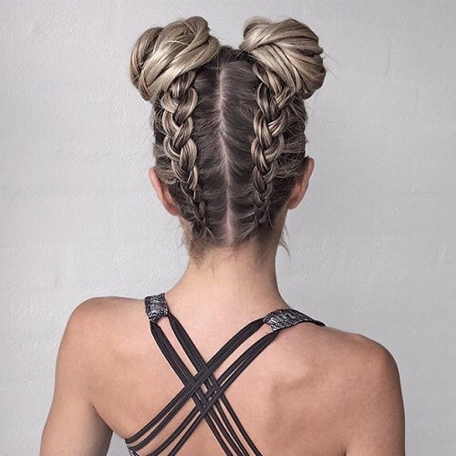 Accentuated Shades with Double Braids and Buns