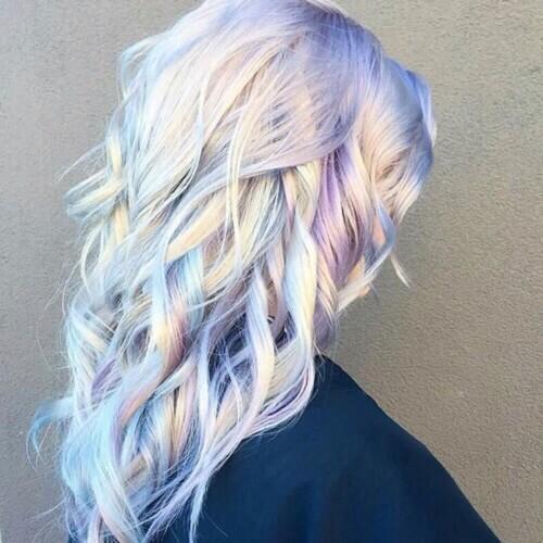 metallic pastel angel hair balayage