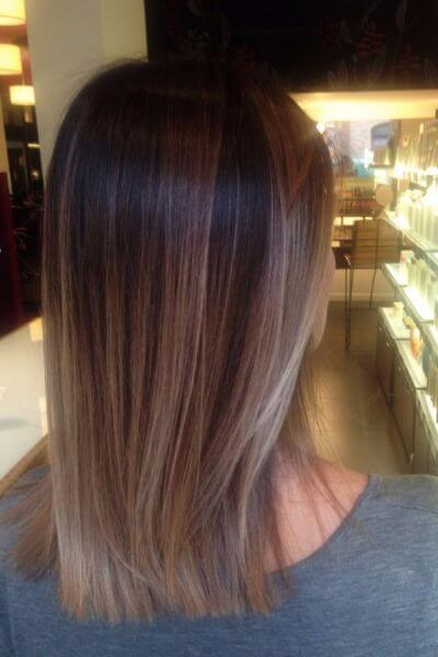 Ash Blonde to Brown Sombre Hairstyle