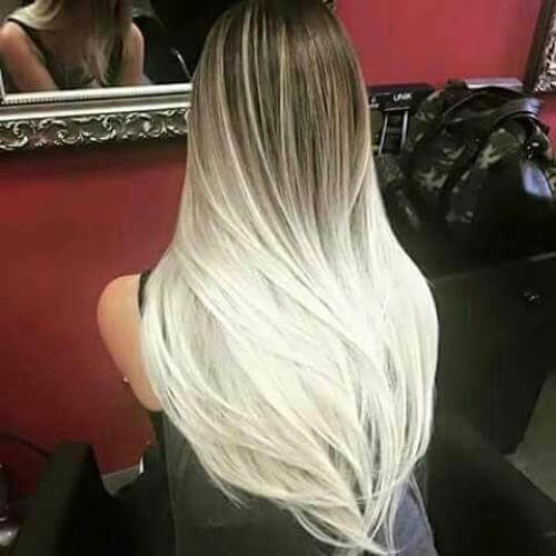 Ash Blonde to Platinum White ombre