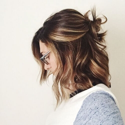 short haircut with balayage