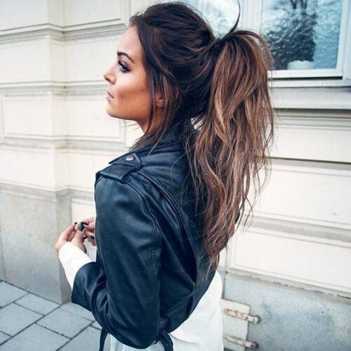 Balayage on Dark Hair with High Ponytail