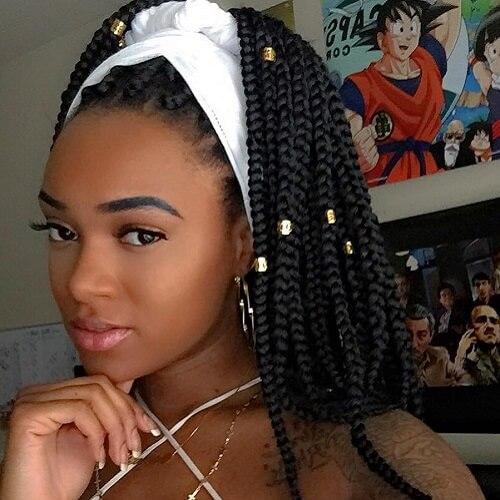 Bandana and Beads box braids