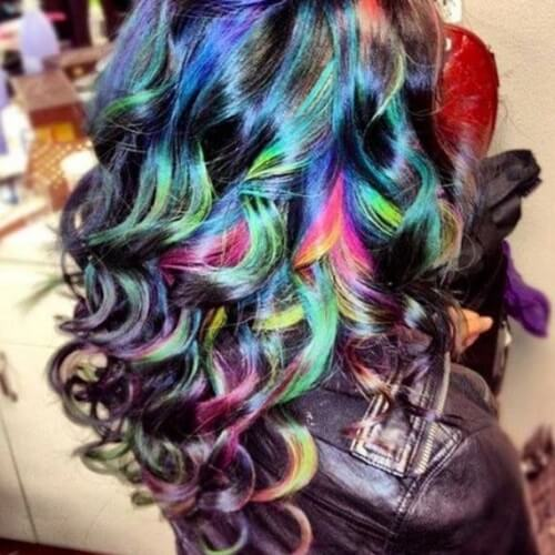 Black Rainbow Ombre Hair Color