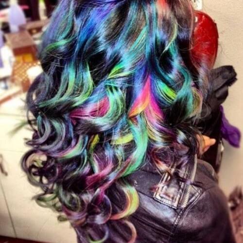 Black Rainbow Ombre Hair Color