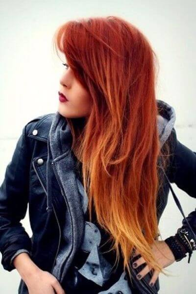 Blonde to Copper Sombre Hairstyle