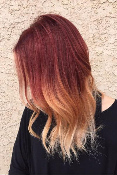 Blonde to Red Sombre Hairstyle