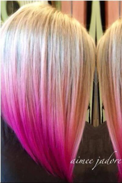 Bold Pink Sombre for Blonde Hair