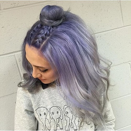 pastel balayage with double braids and bun