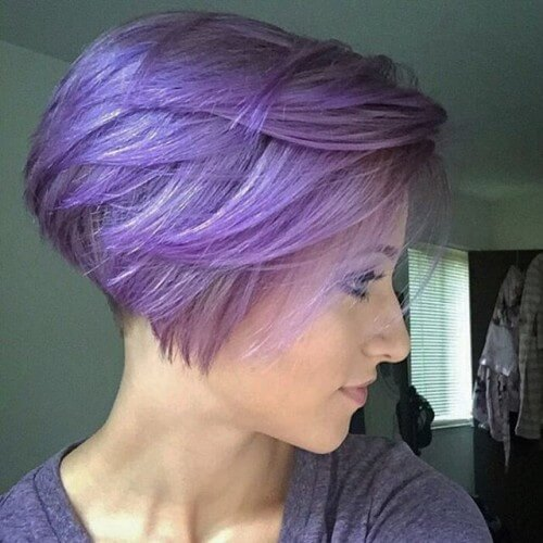 pixie cut with bright lavender hair color