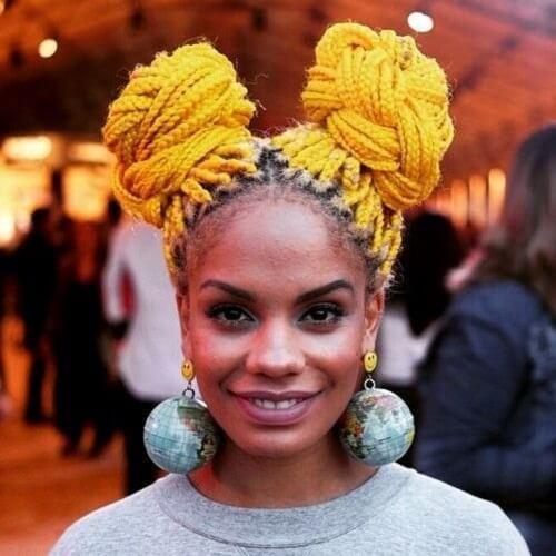 Bright Yellow Colored Box Braids
