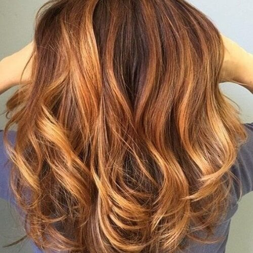 caramel and blonde highlights in brown hair