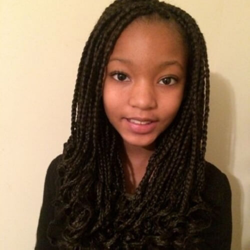 Curled Box Braids for Kids