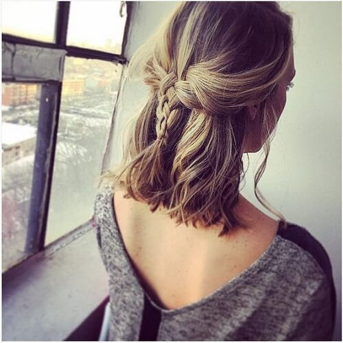 short hair with half up half down braid