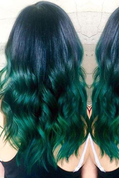Daring Green Sombre for Dark Blue Hair