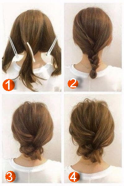 Delicate Braided Bun for Short Hair in Under 10 MinutesDelicate Braided Bun for Short Hair in Under 10 Minutes